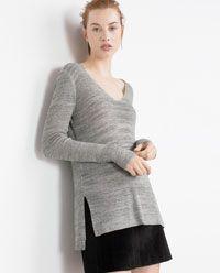 Image 3 of V-NECK SWEATER from Zara Knit Fashion, Zara Women, Knitwear, Autumn Fashion, Tunic Tops, V Neck, Pullover, Knitting, Sweaters