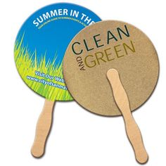 Round Recycled Fan (RS-6): 386397    Eco friendly high quality 22 point 100% post consumer recyclable paper board, liquid laminated, glued wooden stick round ball shaped fan. This environmentally safe product starts with a white front for clean, clear messages and imprintable back of Kraft paper board advertising to the public your commitment to the environment. Over 103 stock shapes, hand fans are great promotional products for any advertising campaign at a budget price.