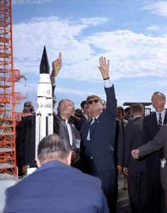 Cape Canaveral,  Wernher von Braun explains the Saturn rocket system to President John F Kennedy at Launch Complex 37