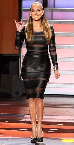Jennifer Lopez In Catherine Malandrino Fall 2012 dress and Louboutin heels on American Idol, April 2012