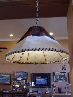 Swag Lamp with Cowhide Cover, 719.657.3111, www.coloradocowgirls.net Rustic Lamps, Swag, Ceiling Lights, Lighting, Unique, Cover, Home Decor, Decoration Home, Light Fixtures