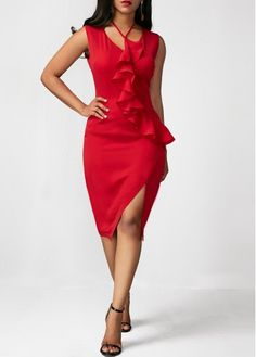 Red is always sexy Sexy Dresses, Casual Dresses, Red Ruffle Dress, Night Club Outfits, Club Party Dresses, Classy Chic, Occasion Wear, Clubwear, Homecoming Dresses