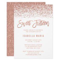 Pink Gold Glitter 18th Birthday Invitation For Girl Modern Teen