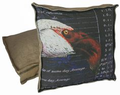 Vintage French Style Box Pillow Burlap and Cotton with Down Insert - Florida Flamingo on Etsy, $85.00