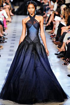 Midnight Blue Collared Gown