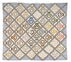 1876 Signature Quilt Top, - Cowan's Auctions Basket quilt