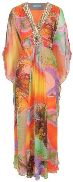 MATTHEW WILLIAMSON Tropical Mousseline Long Glamour Kaftan