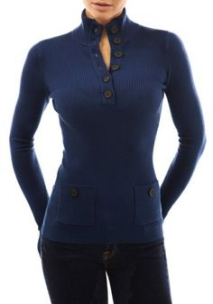 Stylish Stand-Up Collar Long Sleeve Button Design Slimming Women's KnitwearSweaters & Cardigans | RoseGal.com