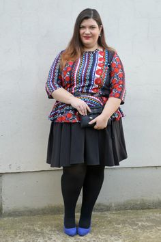 #outfit plus size, more on http://www.pluskawaii.com/2015/03/outfit-rosso-blu-e-e-multicolore.html