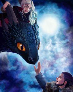 Game of Thrones How to Train your Drogon - by @thehollarity ° ° ° #jonsnow #drogon #daenerystargaryen #sansastark #fanart