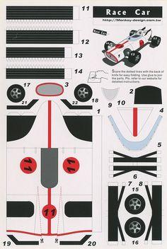 Papers Ferrari Car Templates Papercraft Cars Template Race Car