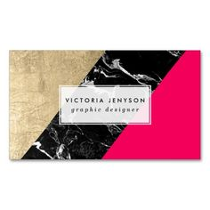 Neon pink black marble gold foil color block Business Card Template