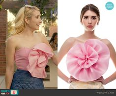 Chanel's pink strapless flower top and quilted skirt on Scream Queens.  Outfit Details: https://wornontv.net/60599/ #ScreamQueens
