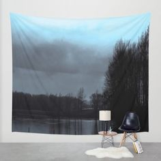 Night Fog Tapestry (Indoor/Outdoor) Art/Wall... (£59) ❤ liked on Polyvore featuring home, home decor and wall art
