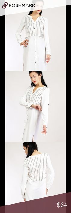 White Striped Top/Shirt Dress. Button down shirt dress with side slits. Long sleeve, convertible to elbow sleeve with adjustable tap and button. V-neck. Color - Off White. Very J Dresses Midi