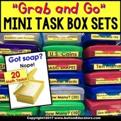 20 Mini Math Task Box Sets for assessment, one-on-one instruction, skills review, and MUCH more! With IEP Goals and Data Recording Cards!