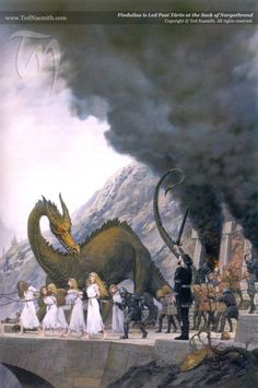SOURCES: The Silmarillion, The Children of Hurin ((This artwork by Ted Nasmith shows Finduilas being led past Turin and Glaurung. Jrr Tolkien, Tolkien Books, Fantasy World, Fantasy Art, Das Silmarillion, Fantasy Literature, O Hobbit, Legolas, Thranduil