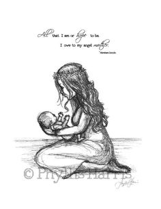 The love between a mother and her child are not measurable. This touching sketch of a mother and her infant child can be customized with or without quote that is shown or you can add your own by sendi