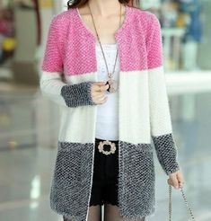 New Winter Spring Cardigans 2016 Women Fashion Mohair Cardigans Casual Tricotado Long Cardigan Women Sweaters For Ladies Cardigan Fashion, Knit Fashion, Look Fashion, Cheap Fashion, Womens Fashion, Long Cardigan, Knit Cardigan, Cardigan Sweaters, Knitting Sweaters