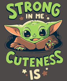 Strong in Me from Qwertee Cute Disney Drawings, Cute Cartoon Drawings, Cute Animal Drawings, Funny Phone Wallpaper, Cute Disney Wallpaper, Cute Cartoon Wallpapers, Yoda Meme, Yoda Funny, Star Wars Pictures