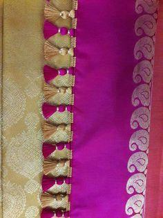 Saree Jacket Designs, Saree Tassels Designs, Saree Kuchu Designs, Applique Designs, Crochet Designs, Saree Jackets, Saree Draping Styles, Saree Border, Pink Saree