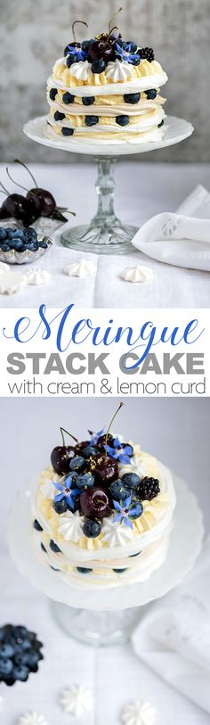 Meringue stack cake with whipped cream and lemon curd filling topped with blueberries, blackberries and cherries.