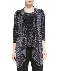 T8Q40 Caroline Rose Diamond Crushed Velvet Jacket, Charcoal, Women's