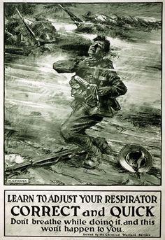 Dulce et Decorum Est-----Vintage WWI Chemical Warfare Gas Mask Safety War Poster.