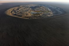 """""""Wau Al Namus"""" Lybia, A Dormant Volcano Surrounded By Dunes Of Black Sand. Steinmetz, Different Points Of View, Desert Oasis, Black Sand, Aerial Photography, Aerial View, Dune, National Parks, Africa"""
