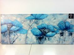 teal flower paintings - Google Search