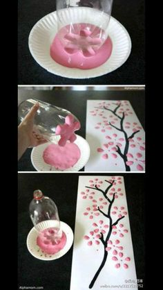 DIY Cherry Blossom Tree with soda bottle Love this, always looking for ideas to decorate my walls! DIY Cherry Blossom Tree with soda bottle Love this, always looking for ideas… Kids Crafts, Diy And Crafts, Arts And Crafts, Cherry Blossom Tree, Blossom Trees, Ideas Mancave, Diy Projects To Try, Craft Projects, Little Presents