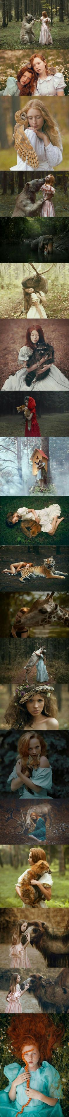 Russian photographer Katerina Plotnikova takes stunning portraits with real animals