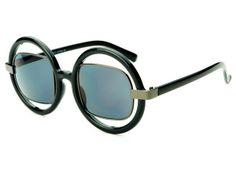 85a56021b4 Cut Out Lens Retro Womens Round Sunglasses Black Gun Metal R1122 Black  Round Sunglasses
