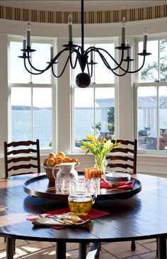 Round dining table - perfect with that view Lake Cottage, Coastal Cottage, Coastal Living, Cottage Style, Luxury Interior Design, Interior And Exterior, Porches, Home Decor Sites, Love Home