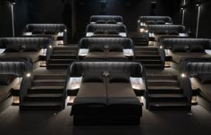 What do you think of this VIP Cinema Beds? Via: Designed by Studio Nocc for Pathé Suisse ⁣ Home Theater Room Design, Movie Theater Rooms, Home Cinema Room, Movie Rooms, Bar Design, House Design, Mansion Designs, Most Luxurious Hotels, Home Decor Furniture
