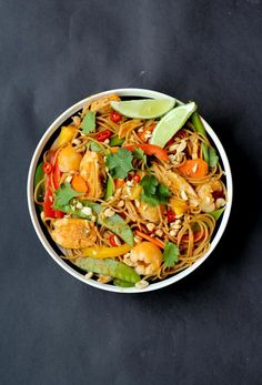 Healthy Lychee Chicken Curry Noodles  High Fibre, High Protein Dinner via @abbeyskitchen