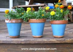 fun painted flower pots | Here is some clay pots that I painted to add to my deck for some fun ...