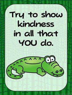 Freebie- Zoo Animal Theme Alligator Positive Inspirational Quote Poster