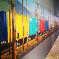 Jeffrey Smart, Container Train at Tarrawarra Australian Painting, Australian Artists, Jeffrey Smart, Magazine Illustration, Smart Art, Urban Landscape, Art Techniques, Terra Australis, Art School