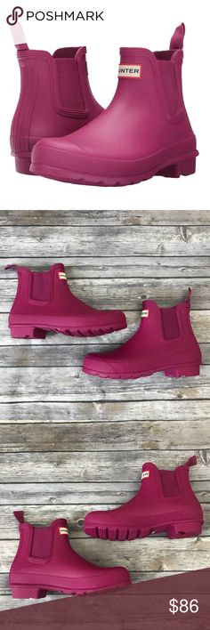 New Hunter Original Chelsea Short Matte Boots Hunter Boots Original Chelsea Short Matte Rain Boots in Dark Ion Pink •New without box •Size 7 •Retails for $150  Check out my other listings- Nike, adidas, Michael Kors, Hunter Boots, Kate Spade, Miss Me, Rock Revival, Coach, Wildfox, Victoria's Secret, PINK, True Religion, Ugg Australia, Free People and more! Hunter Shoes Winter & Rain Boots