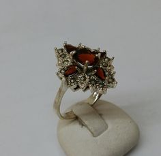 Antiker Hessonit Granat Ring Markasiten SR434 von Schmuckbaron