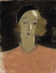 """Helene Schjerfbeck, """"Girl with Beret"""", 1935 on ArtStack #helene-schjerfbeck #art"""
