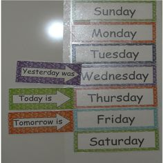 Days of the Week Freebie, I like, but I would change the Tomorrow one to the future tense and have it say: ¨Tomorrow will be¨ instead