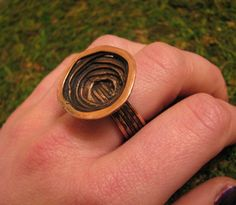 Copper Ring, Forged from copper wire, Crater Strata Design