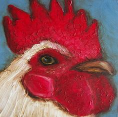 "ROOSTER ""Rooster"" - Chicken Farm Folk Art  Giclee print from my original painting. $5.99, via Etsy."