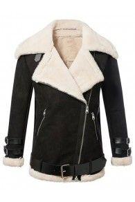 Black Lapel Faux Shearling Zipper Detail Long Sleeve Jacket