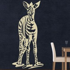 "Style and Apply Zebra Wall Decal Size: 39"" H x 20"" W, Color: Dark Green"