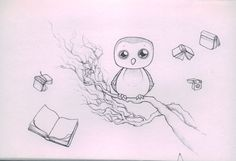 Found this cutie owl sketch on Kat Johnston's blog (http://katjohnston.com/)  She's a talented illustrator.  #katjohnston #owl #owls