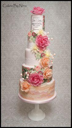Stunning Wafer Paper Flowers, romantic wedding cake