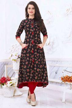 Printed Kurti Designs, Churidar Designs, Kurta Designs Women, Cotton Kurtis Designs, Latest Kurti Designs, Stylish Dress Designs, Dress Neck Designs, Stylish Dresses, Fashion Dresses